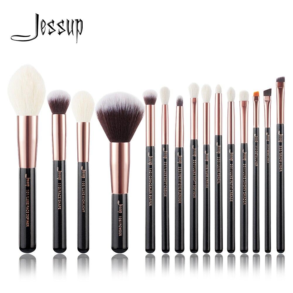 Jessup cepillos de oro rosa/Negro maquillaje profesional de los cepillos conjunto Fundación polvo cepillo lápiz natural de cabello sintético