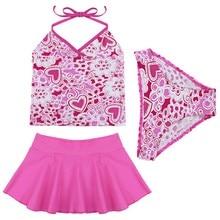 Hot 3Pcs Girls Bikini Set Kids Baby Halter Top Ruffled Skirt Tankini Bow Swimwear Swimsuit Bathing Suit Bikinis Costume Clothing
