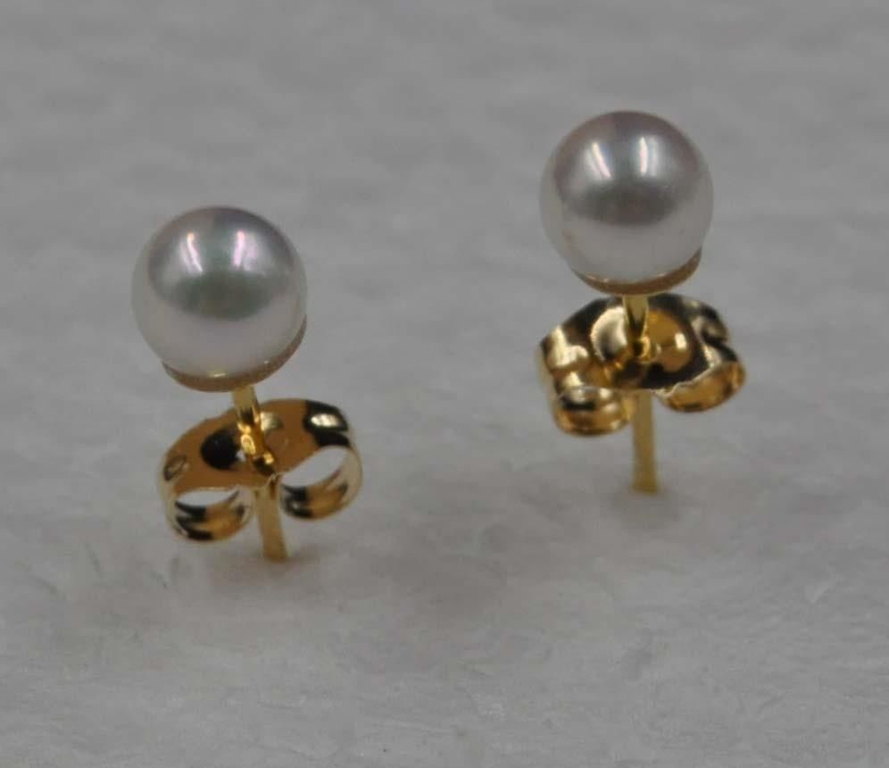 14 k or magnifique lustre 4.5mm rond Akoya perle boucle d'oreille