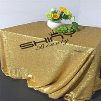 Matte Dark Gold Sequin Table Cloth 90x132inch Sequin Table Linens For Christmas Decoration A