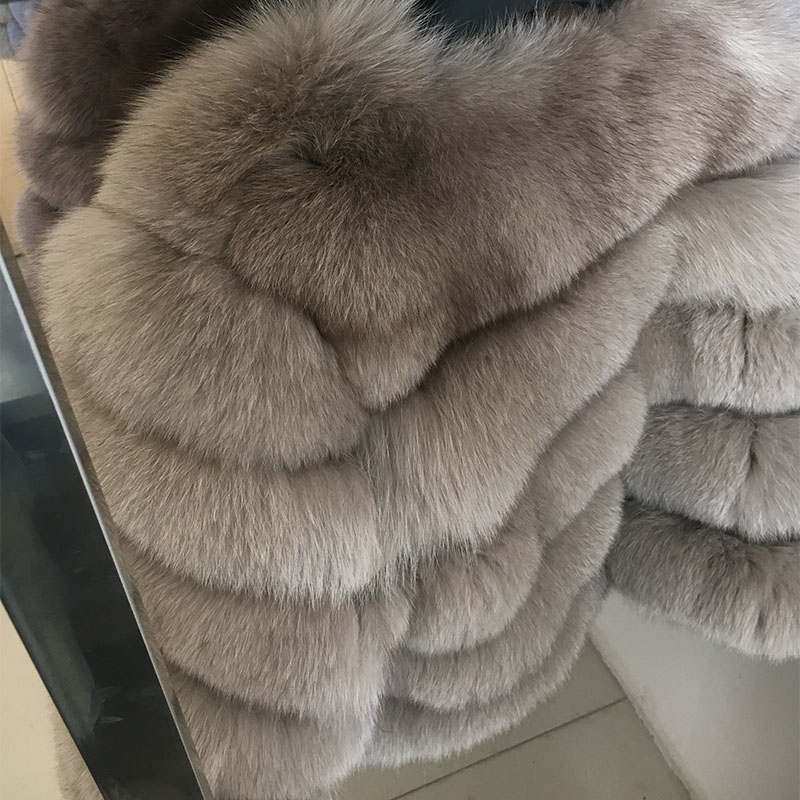 maomaokong 50CM Natural Real Fox Fur CoatWomen Winter natural fur Vest Jacket Fashion silm Outwear Real Fox Fur Vest Coat Fox 28