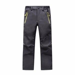 Image 3 - Marca impermeável à prova de vento meninos meninas calças crianças outerwear quente calças de escalada esportiva para 4 14 anos de idade