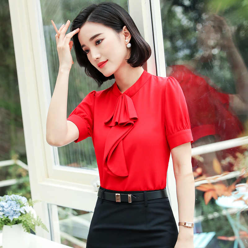 421da65f1d3fa Elegant Office Wear Women Summer Chiffon Blouses Shirts Lady Girls Casual  O-Neck Bow Tie short Sleeve Tops Shirts Plus size 4XL