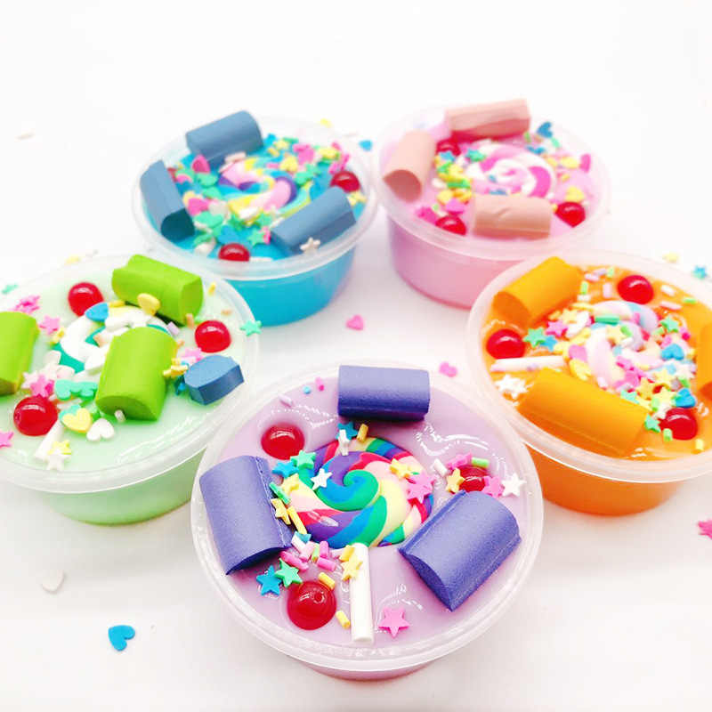 LollipoCrystal Mud Cotton Candy Decoration Mud Slime Toys DIY Craft Toys Plasticine Poke Stamp Color Mud Relax Toy for Kids Gift