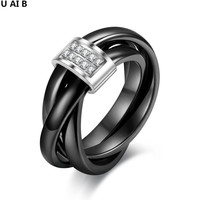White Black Ceramic Rings For Women Personalized Ceramic Fine Stone Tricyclic Ring 2016 Fashion Jewelry For