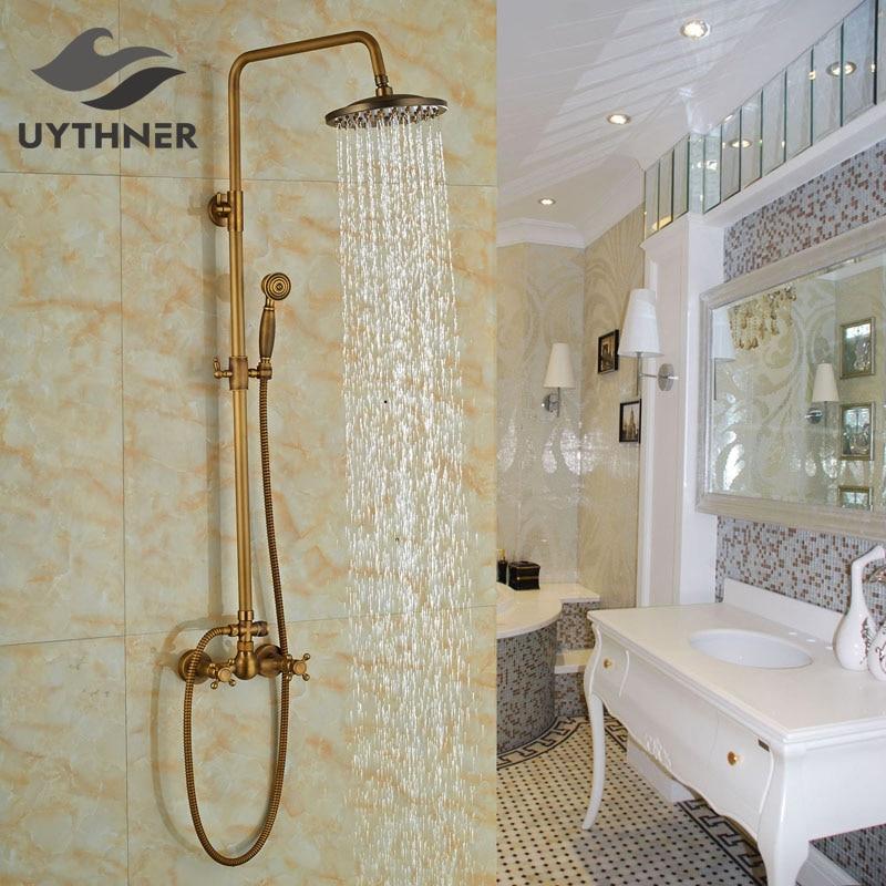 Newly 8 Inch Shower Faucet Set w/ Handheld Sprayer Antique Brass Shower Mixer Faucet Tub Faucet Dual Handles antique brass 8 rain shower faucet set double corss handles tub mixer hand unit
