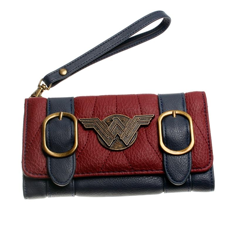 Mulheres-carteira-fivela-dupla-tri-fold-flap-bolsa-Azul-vermelho-Bordeaux-bordado-emblema-do-Metal-carteira