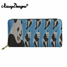 Noisydesigns Long Thin Wallets Women Cute Cartoon Panda Design Ladies purses canta Cluth Party Phone Purse Females Cash Holder(China)
