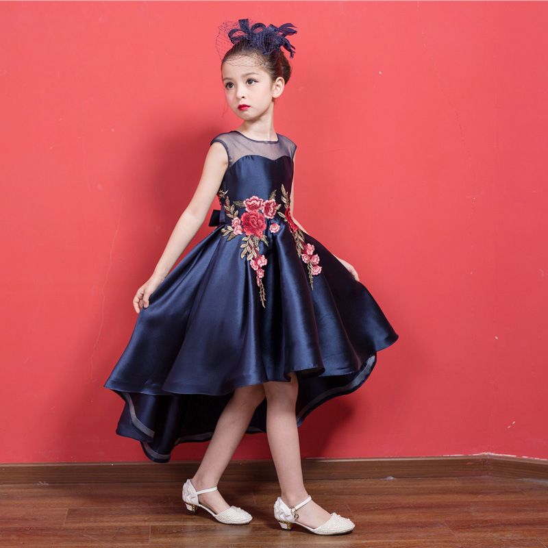 Navy Blue Short Front Formal Girl Dress Christmas Kid -1002