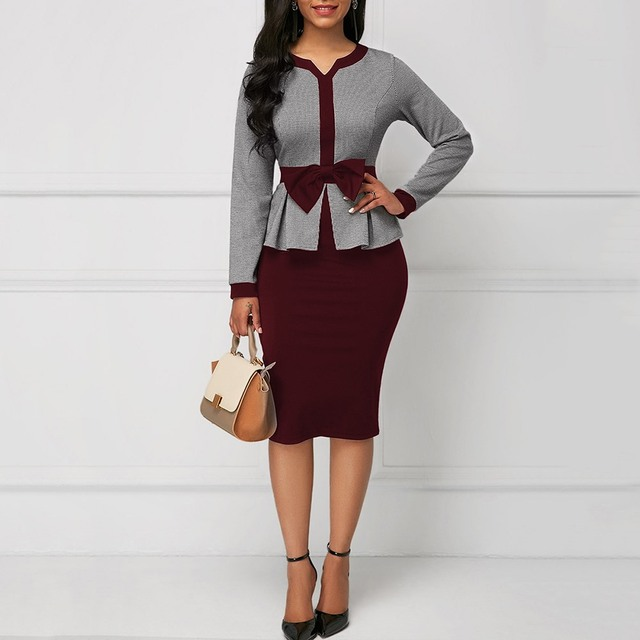 Spring bodycon dress women Casual Office Lady Pullover Color Block Bowknot Patchwork Female Elegant Fashion Dress work girl