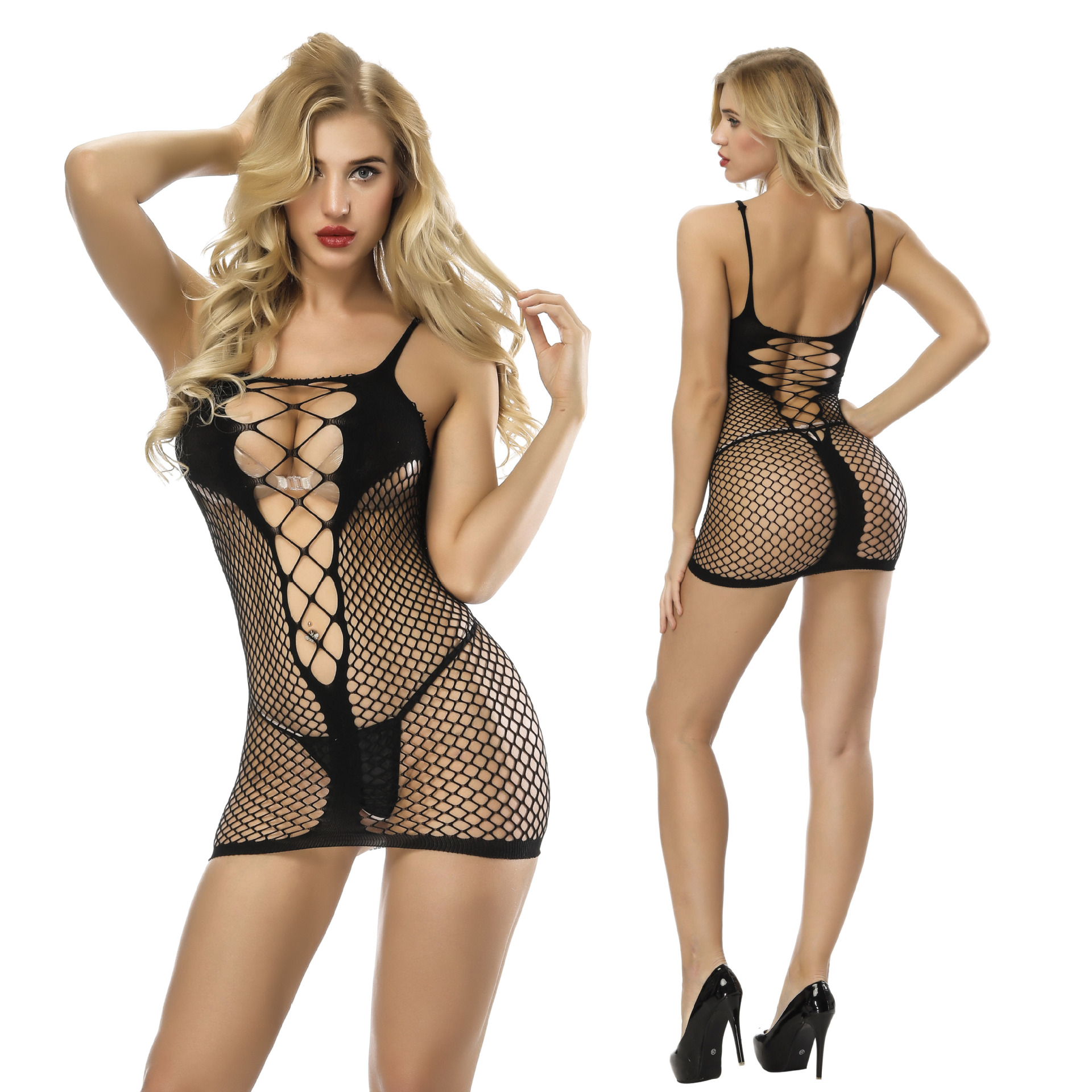 Women's Exotic Apparel Newest Sexy Short Skirt Sexy Lingerie High Elastic Tight Hollow Out Mesh Erotic Net Dress Jacquard Perspective Exotic Dresses