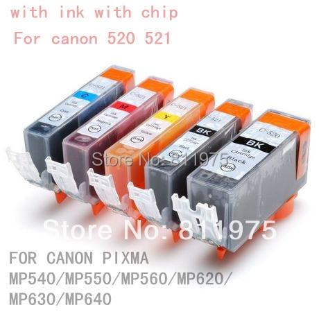 15pcs PGI 520BK CLI 521 BK C M Y 5 <font><b>color</b></font> ink cartridge For <font><b>canon</b></font> PIXMA MP540/MP550/MP560/MP620/MP630/MP640 printer