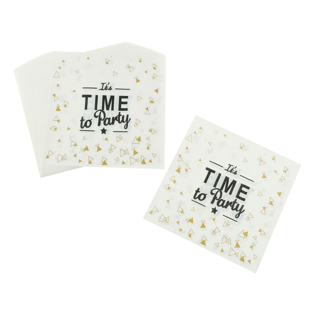 20pcs It 39 s Time To Party Printing Napkin Paper White Black Letter Wedding Decor Plate Napkin Tea Time Party Supplies in Disposable Party Tableware from Home amp Garden