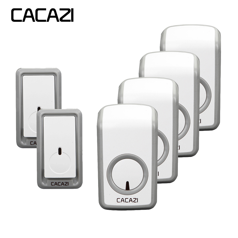 CACAZI Wireless door bell 350M remote 2 Waterproof buttons+4 doorbell receivers 315 MHz without interference EU/US/UK plug 2 receivers 60 buzzers wireless restaurant buzzer caller table call calling button waiter pager system