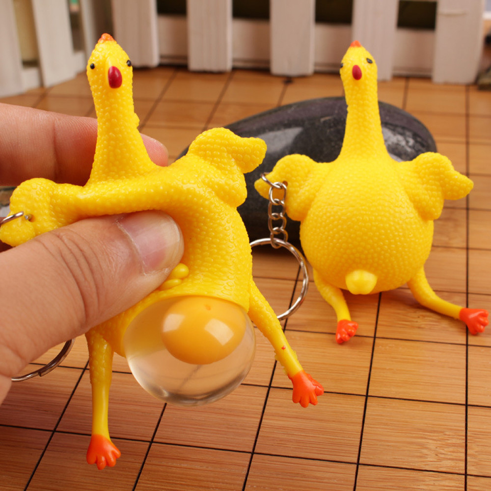 Hens Chicken Laying Egg Keychains Sticky Venting Prank Mischievous Spoofing Mood Squeeze Relief Tricky Funny Gift Key Chain DQ