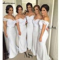 Пикантные с открытыми плечами длинные кружево подружек невесты Вечерние платья Свадебная вечеринка платья для женщин невесты короткий рук