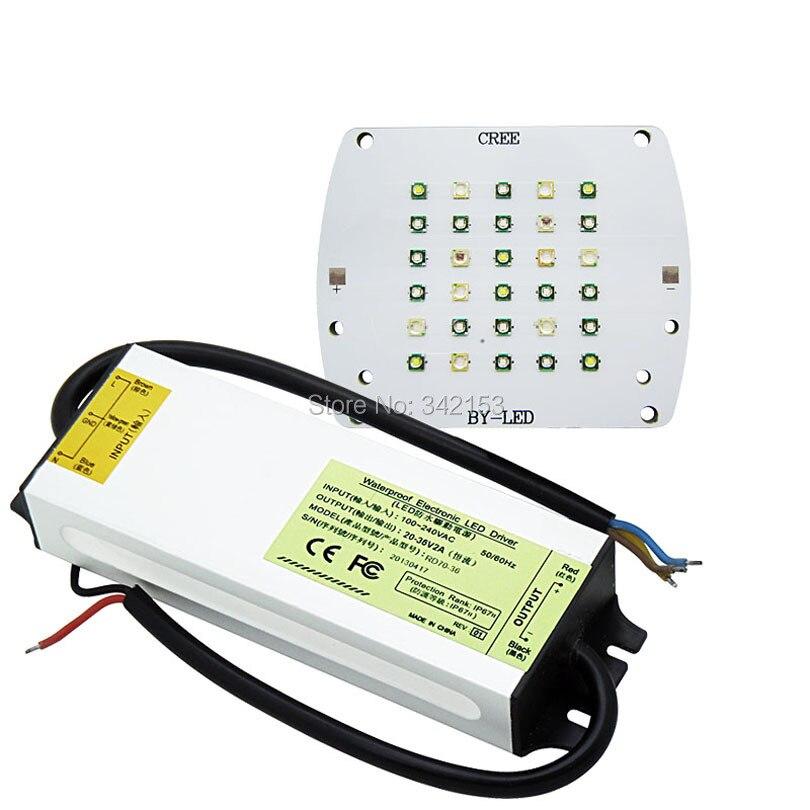 ФОТО DIY Led Emitter Lamp Light Kit Cree + Epileds Led 430NM 450NM 470NM 490NM 660NM 7000K + 60W High Power Led Driver