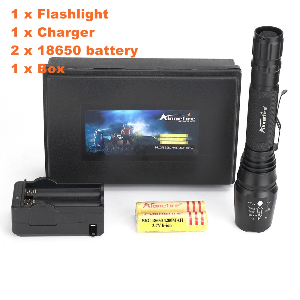 Alonefire H200 CREE XM-L T6 ZOOM LED High power Hunting Waterproof Zoomable Flashlight Torch light With 2x18650 Battery Charger alonefire x160 cree xm l2 led flashlight high power lighting flashlight torch with 26650 battery charger
