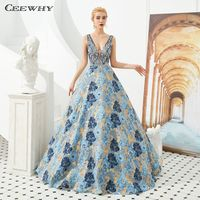CEEWHY V Neck Floral Prom Dress Robe Soiree Dubai Evening Gown Beaded African Muslim Evening Dress Open Back Formal Dress