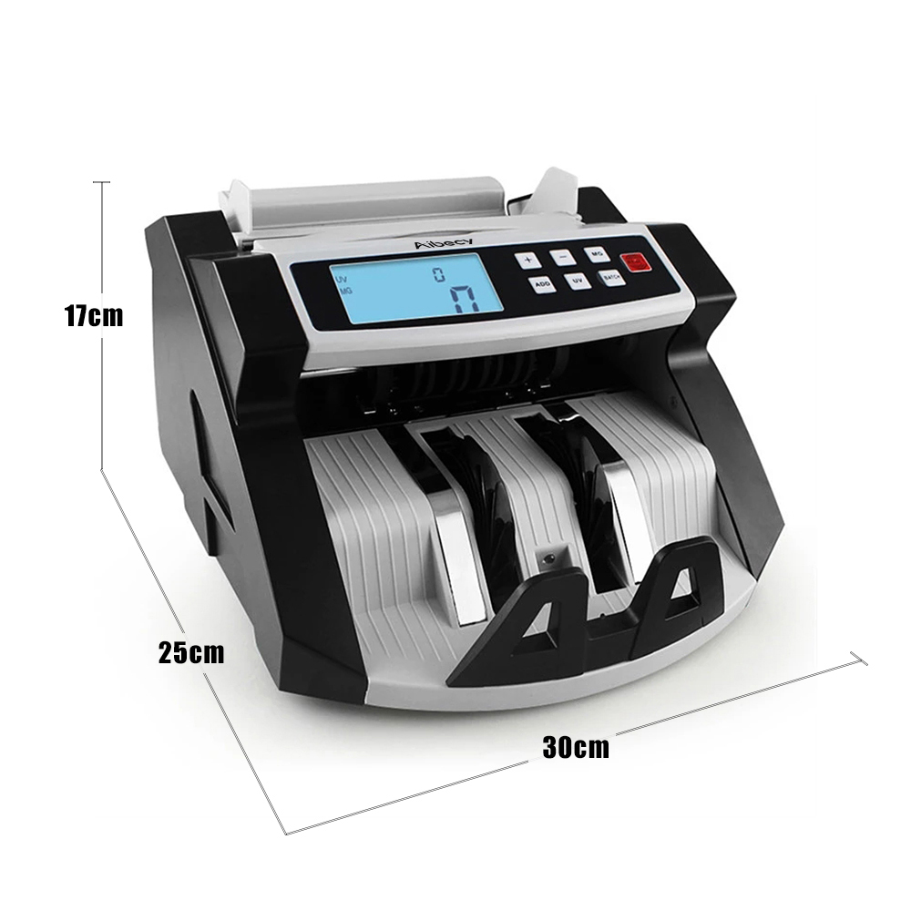 Aibecy Automatic Multi Currency Cash Banknote Money Bill Counter Counting Machine LCD Display with UV MG Counterfeit Detector-in Money Counter/Detector from Computer & Office    2