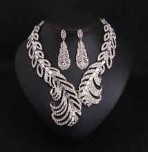 Women Fashion Jewelry Set Grade Zircon Choker Collar Necklace Set Feather Shape Elegant Luxury Party Jewelry Set for Ladies
