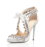 Elegant White Satin Wedding Shoes Bride Bling Bling Crystal Tassel Lace up Cut out High Heels Women Pumps Plus Size 10