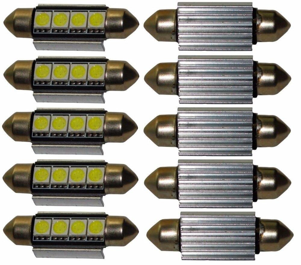 10 ampoule veilleuse c5w 12v 4led smd blanc effet 41mm. Black Bedroom Furniture Sets. Home Design Ideas