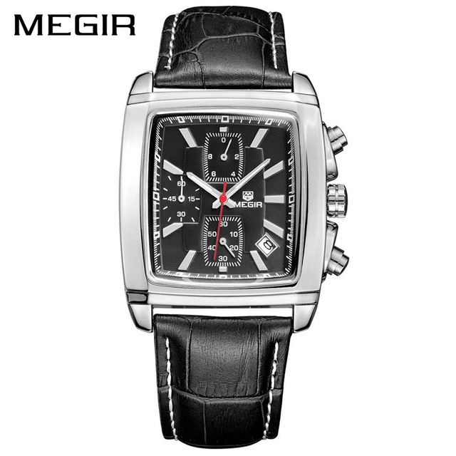 MEGIR Official Quartz Men Watch Genuine Leather Watches Clock Men Chronograph Watch Relogio Masculino for Man Male Students 2028