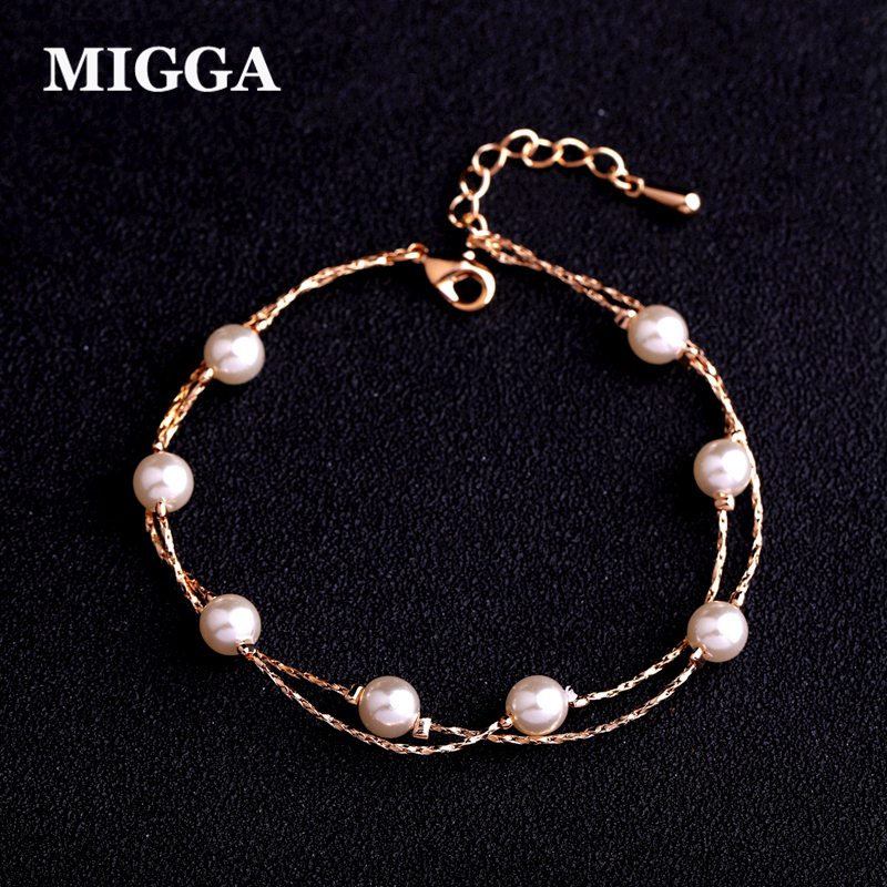 MIGGA Rose Gold Color Double Layers Imitation Pearl Bracelet for Women Ladies Girls Gift ...