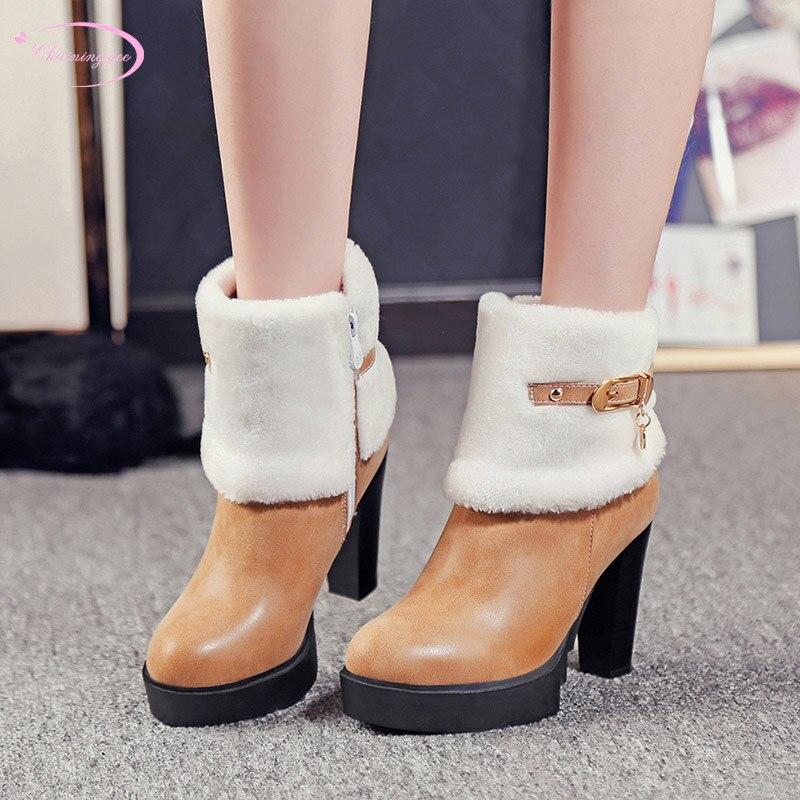 Botas Para Mujer Tobillo Redondo Del Tacón Cinturón La Dedo Brown Zapatos  Caliente Sur Plataforma red Invierno Estilo Alto Corea Nieve Pie ... f3b4a7d91961