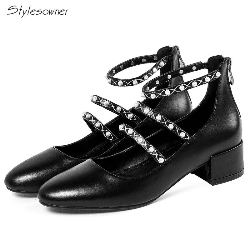 Stylesowner Fashion 2018 Zipper Pearl Heels Mary Janes Shoes Shallow Pearl Women Single Shoes Genuine Leather Casual OfficeShoesStylesowner Fashion 2018 Zipper Pearl Heels Mary Janes Shoes Shallow Pearl Women Single Shoes Genuine Leather Casual OfficeShoes