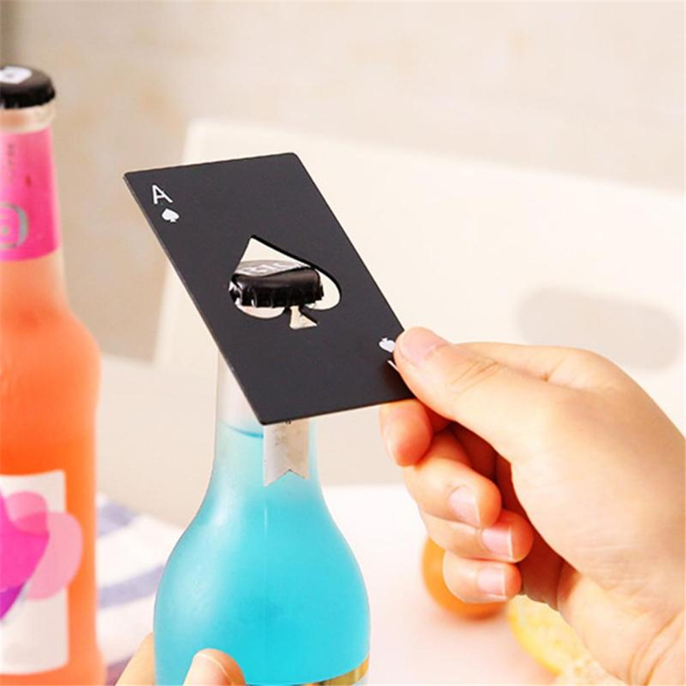 Creative Bottle Openers Poker Aces Stainless Steel Beer Openers Bottle Cap Remover Kitchen Bar Gadgets For Wedding Favors Gifts