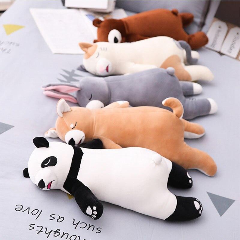Almohada de felpa de gato/Panda Super suave de 45cm, Animal de dibujos animados de peluche, juguete bonito para gato, almohada de siesta para dormitorio, regalos para niños y adultos Lote de 8 unidades de figuras de acción de Panda, Panda, Mini modelo de PVC para niños, juguetes de animales para niños, regalos de cumpleaños