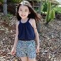 2-16 T 2016 verão menina conjunto de roupas 100% de algodão colete e calções 2 peças set roupa dos miúdos crianças conjunto casual twinset