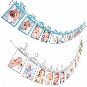 12 месяцы фоторамка баннер для ребенка первые декорации с днем рождения первый мальчик девочка мой 1 Год Вечерние принадлежности золотой роз...