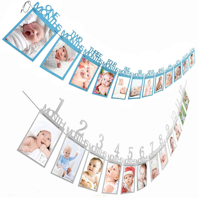 12 Months Photo Frame Banner Baby First Happy Birthday Decorations