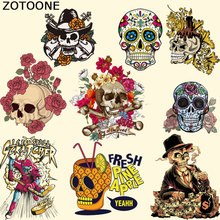 ZOTOONE Flower Patches DIY Clothing Stickers West Coat Skull Patch Iron On T-shirt Dresses Sweater A-level Washable Appliqued C