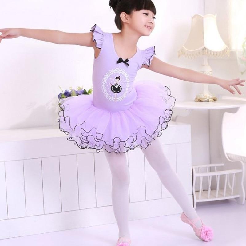 313260acb0e2 Pink Purple Child Girls Ballet Dancewear Dress Tranning Kids Dance ...