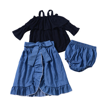 Sweet Kids Girls Summer Outfit 3pcs Sets Tees Shorts and Ruffles Skirts Cute Children Western Clothes