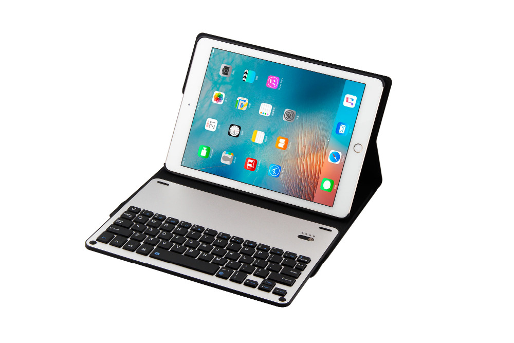 Aluminum Alloy Metal Removable Wireless Bluetooth 3.0 Keyboard Stand Leather Case Cover For Apple iPad Pro 9.7 inch Tablet aluminum keyboard for ipad 2017 air2 tablet case ultra thin stand removable wireless bluetooth pu leather for ipad pro 9 7 cover