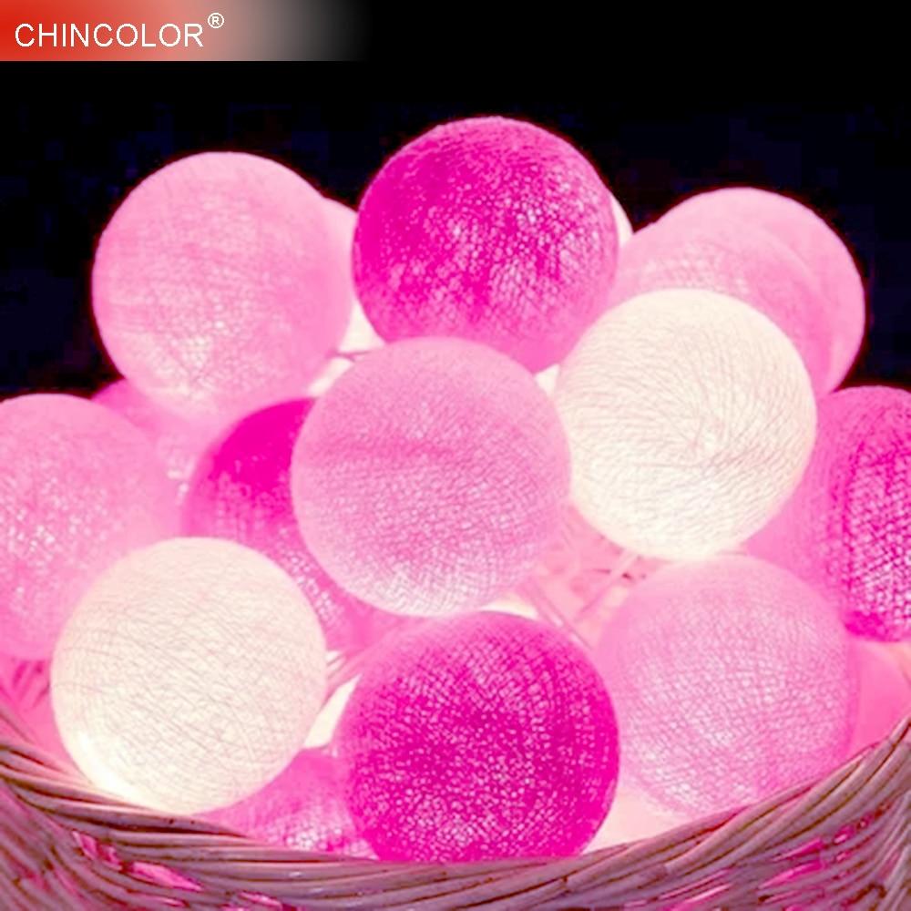 3-4Meter Led Ljussträng 20Leds Holidaylights 3,5cm / 5cm Pink Ball - Festlig belysning