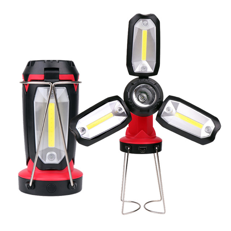 ZK20 USB Rechargeable COB Work Light LED Flashlight Camping Hiking Emergency Multifunction Fan Light For Car Repairing Tent Fish