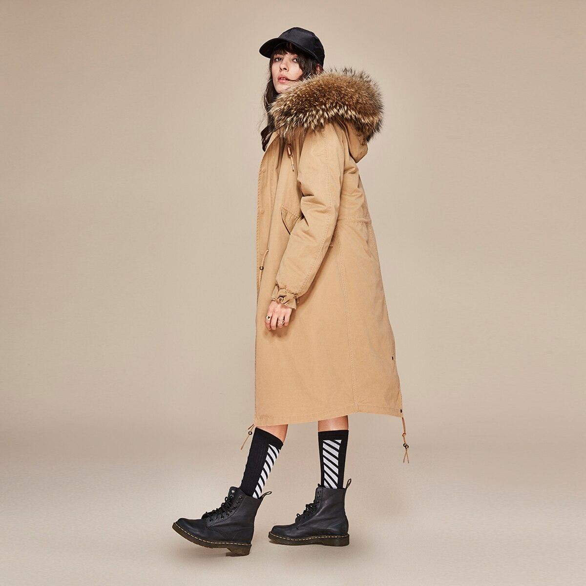 Модное белое теплое пальто с меховым воротником и капюшоном, Женская длинная куртка, новинка 2019, зимний свободный пуховик, плотное пальто, ж... - 4