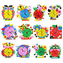 Kids DIY Kids Animal Shape Learning Clock Puzzles Arts Crafts Kits Baby Toys(China)