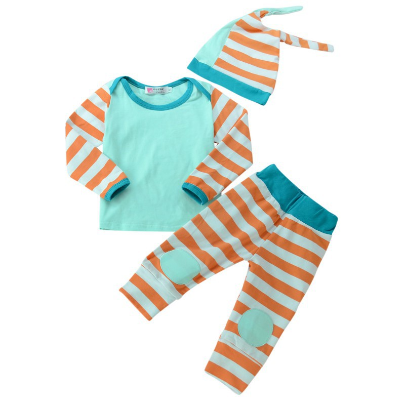Baby Boy Girl Suits Infants Cotton Striped Long Sleeves 3 Sets Tops+Pants+Hat Fashion Newborn Boy Girl Clothes Hot Sale