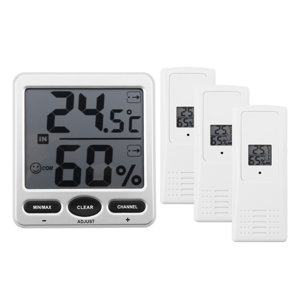 Digital LCD Indoor/Outdoor Thermometer Hygrometer Thermo Temperature Humidity Meter Weather Station With Stand 3 sensors dc12v 24v digital meter 20 100 degrees celsius thermometer dual display temperature meter for car water air indoor outdoor etc