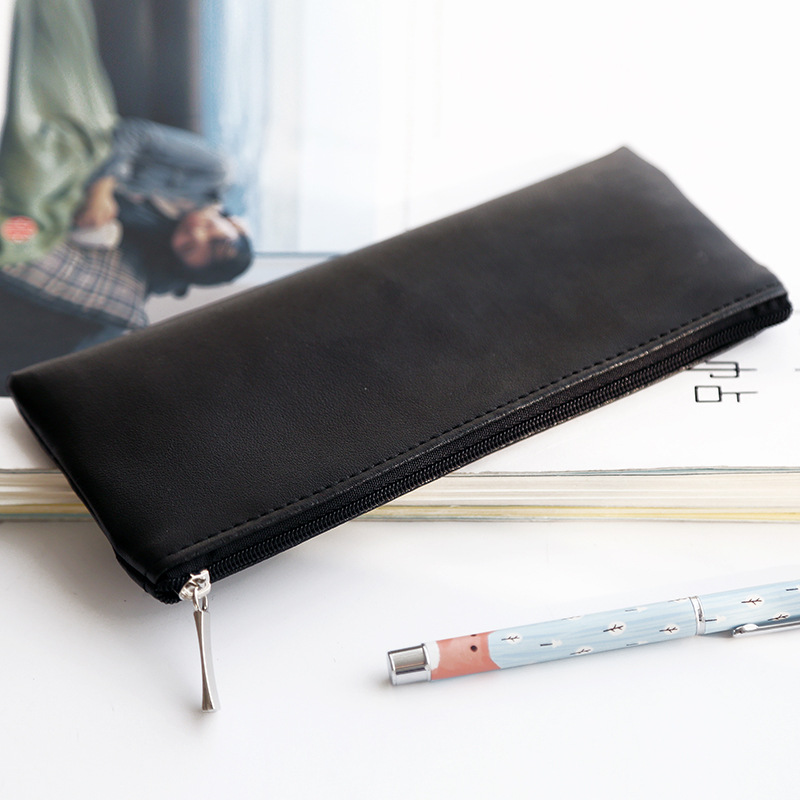 Mini Black School Pencil Case PU Leather Penal Pencilcase For Girls Large Boys Pen Bag Multi Cosmetic Pouch Stationery Supplies