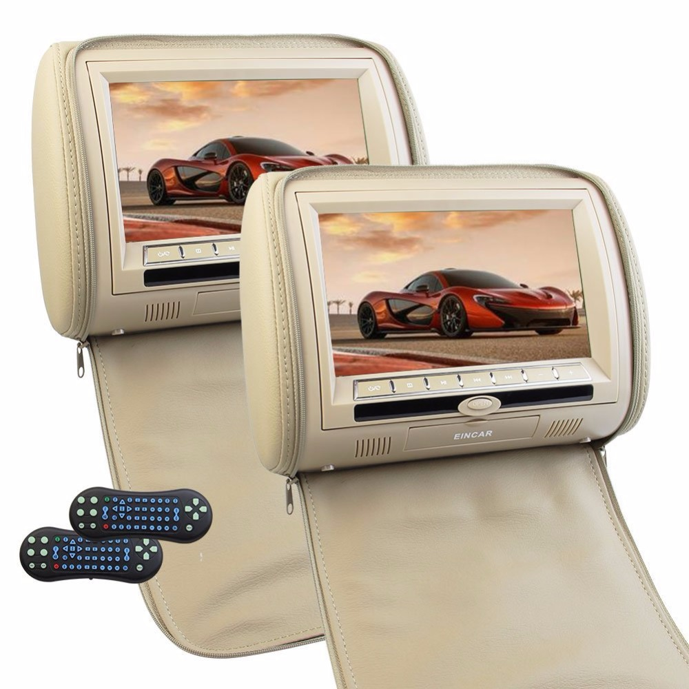 car Headrest Monitor DVD Player USB/SD/HDMI/FM TFT LCD Screen 32 Bit Game disc Remote Control IR transmitter headrest monitor ca eincar pair of car headrest dvd player monitor usb sd cd mp3 mp4 car entertainment fm ir headrest video player 2 ir headphones