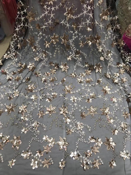 Pentacle Pattern Lace Fabrics 2018 African Lace Fabric High Quality Gold Sequins French Nigerian Lace Fabric For Wedding Dress