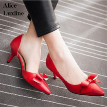 Summer Women Pumps Sweet Bowknot High-heeled Shoes Thin Pink High Heel Shoes Hollow Pointed Toe Stiletto bowtie 6cm Plus size 43